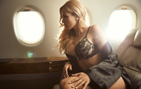 Hundertpfund, blonde, black lingerie, sitting, aircraft, girl