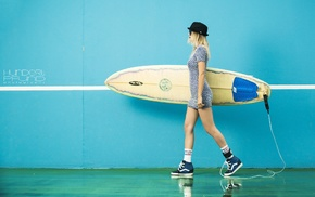 walls, hat, Hundertpfund, girl, girl with glasses, surfing
