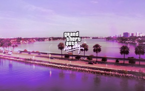 pink, Grand Theft Auto Vice City, road, lake, logo, sea