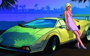 Grand Theft Auto Vice City, luxury, city, heels, girl, sports car