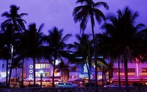 palm trees, evening, neon, beach, Grand Theft Auto Vice City, hotels