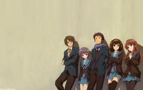 anime girls, anime boys, anime, Nagato Yuki, Koizumi Itsuki, school uniform