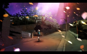 street, The Melancholy of Haruhi Suzumiya, night, anime, school uniform, anime girls