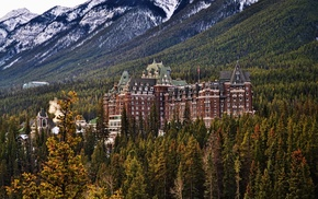 The Fairmont Banff Springs, Banff National Park, architecture, hill, forest, trees