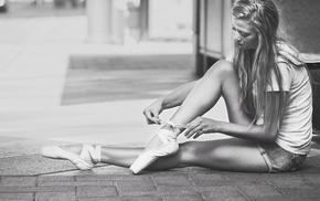girl outdoors, long hair, Roberto Inetti, blonde, monochrome, model