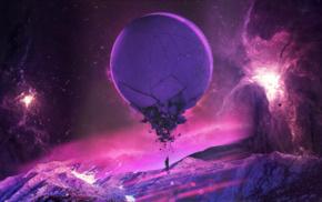 space, planet, purple, pink, fantasy art, universe