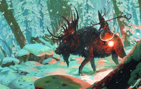 artwork, animals, fantasy art, snow, forest, deer