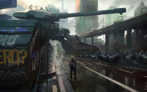 graffiti, concept art, tank, weapon, artwork, futuristic