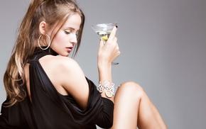 Martini, girl, model, alcohol, dress, black