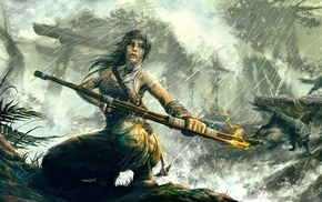 fire fighter, nature, bows, girl, Lara Croft, fantasy art