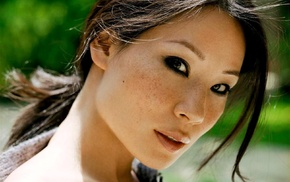 freckles, Lucy Liu, eyes, celebrity, face
