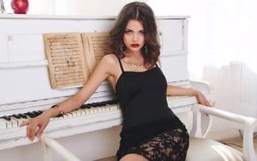 classy, brunette, dress, piano, girl, white