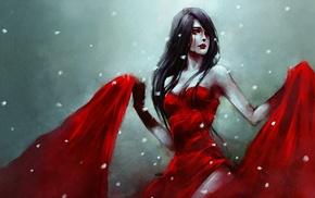 dress, brunette, fantasy art, girl, red, winter