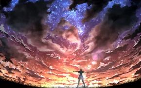 artwork, anime, sky, anime girls, digital art