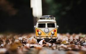 leaves, macro, toys, vw bus