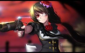 eye patch, anime girls, gun, Tokisaki Kurumi, artwork, Date A Live