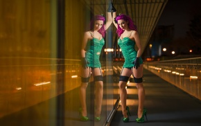 glass, model, Poison Ivy, garter belt, dress, reflection