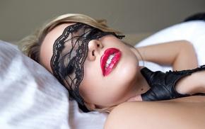 makeup, face, mask, gloves, model, blonde