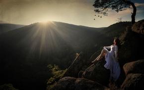 nature, sunlight, mountain, sunset, trees, rock