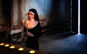 model, nuns, candles, girl