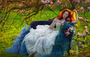 model, girl outdoors, fantasy art, redhead, girl