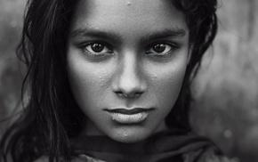 girl, face, monochrome