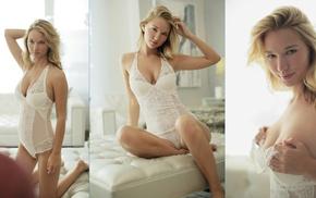 blonde, girl, collage, model, bodysuit