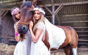 sisters, animals, horse, model, girl