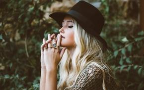 black, rings, hat, girl, blonde