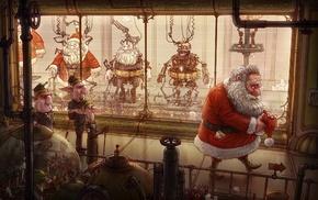 factory, Santa Claus, digital art, Santa costume, robot, santa