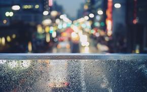 porch swing, cars, street light, window, street, rain