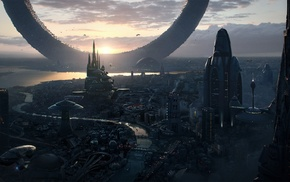 sunrise, science fiction, future city