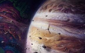 space, asteroid, meteors, spaceship, universe, digital art