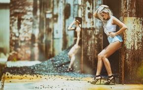 hands in hair, depth of field, blonde, jean shorts, model, girl