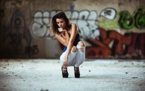crouching, high heels, Aaron Woodall, girl, pants, torn jeans