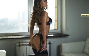 black lingerie, Andrew Goluzenkov, ass, brunette, black stockings, bubble butt