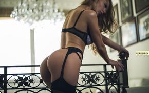 stockings, black lingerie, bubble butt, blonde, Alena Lukianova, looking down