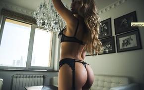 black lingerie, sensual gaze, window, Andrew Goluzenkov, blonde, looking at viewer