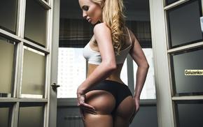 blonde, shorts, back, girl, small boobs, Andrew Goluzenkov