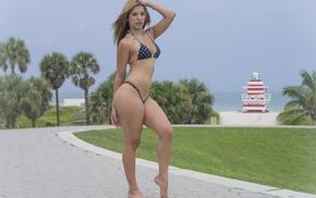girl, model, bikini, Antonio Harrison, pierced navel, tattoos