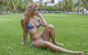 hand on face, bikini, girl, sitting, pierced navel, Antonio Harrison