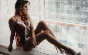 looking away, model, Christmas, lingerie, window, high heels