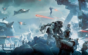 Star Wars Battlefront, Hoth, battle, video games, soldier, Star Wars