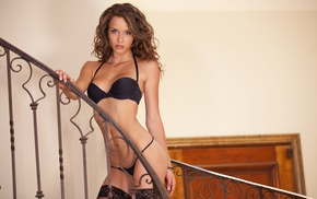 stairs, pornstar, looking at viewer, lingerie, Malena Morgan, girl