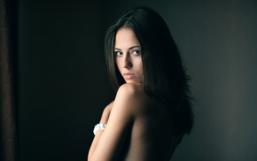 girl, model, long hair, simple background, bare shoulders, Catherine Timokhina