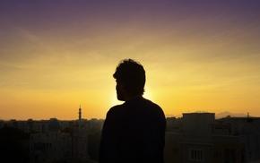 sunset, alone, sky, landscape, silhouette, photography