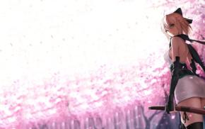 FateGrand Order, anime girls, cherry blossom, short hair, Sakura Saber FateGrand Order, Fate Series