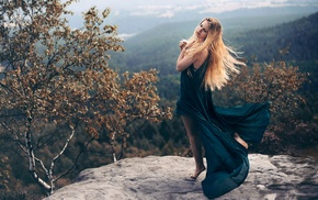 closed eyes, landscape, fall, forest, long hair, dress