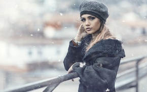 coats, winter, snow flakes, fence, hat, girl