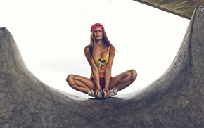 Mickey Mouse, brunette, Josefine Forsberg, long hair, looking at viewer, girl